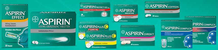 Aspirin Produktpalette